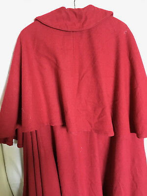 Cape 'Handmaid's Tale' style Red Wool - Unisex Full Length - Ideal Stage Costume