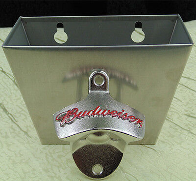 Red BUDWEISER wall mount bottle opener  Beer Bottle Cap Catcher stainless steel
