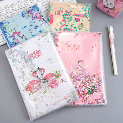 """Shining Flamingo"" 1pc Monthly Weekly Planner Diary PVC Cover with Water Sequins"