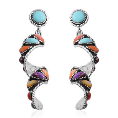 925 Sterling Silver Round Turquoise Multi Turquoise Earrings Cttw 14