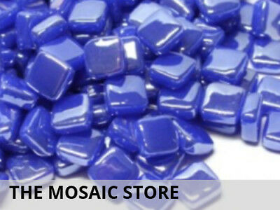 Iridised Brilliant Blue 8mm Glass Mosaic Tiles - Micro Small Craft Tiles