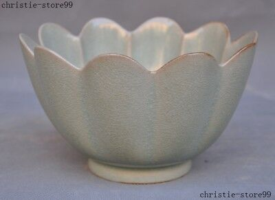 Rare old Chinese palace Longquan Kiln porcelain lotus shape statue Tea cup Bowl