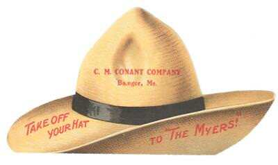 1901 Die Cut Of Hat Trade Card Myers' Pumps & Hay Tools Ashland, O Girl Hose Man