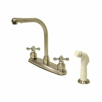 Kingston Brass Victorian High Arch Kitchen Faucet With White Sprayer