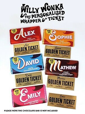 Fully personalised Willy Wonka Chocolate Bar Wrapper & Golden Ticket