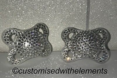 Baby Crystal Rhinestone MAM Dummy Pacifier Christening Baby Shower SEE VIDEO