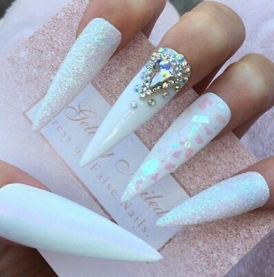 Set Of 20 Hand Painted Ice Queen 43mm Stiletto White Jewelled False Nails, Chrom