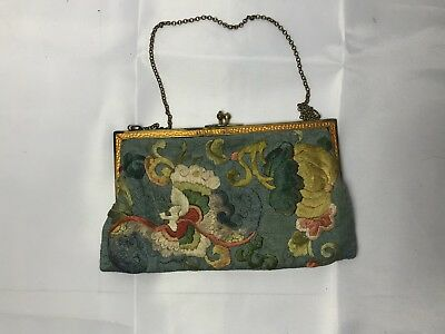 Antique Vintage Purse Chinese Embroidered Of Flowers