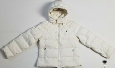 Nwt Polo Ralph Lauren Girls Down Puffer Coat Jacket/White L/Xl #60