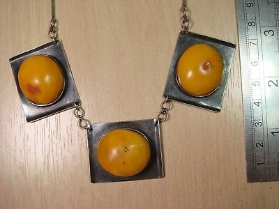 Necklace Soviet Silver Mark 875 with Very Old Baltic Butterscotch Amber (Nr.329)