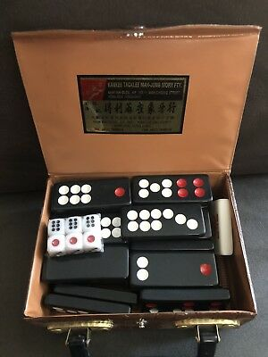 32 USED HOTEL AND CASINO Pai Gow Tiles Set + CASE Dice and Plaque *