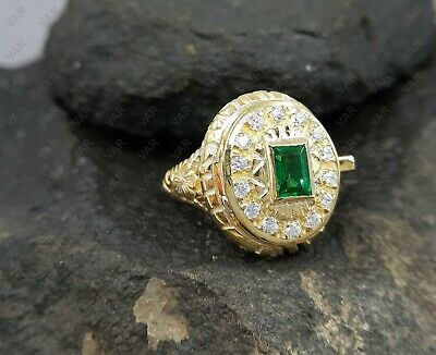 1.07 Ct Antique Edwardian Cut Emerald Poison Locket Ring 925 Sterling Silver