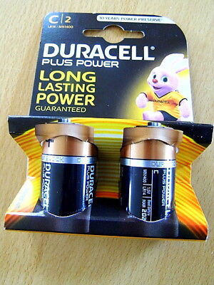 2 x Duracell Batterien PLUS POWER Alkaline Baby LR14 C, 1,5 V, Blister
