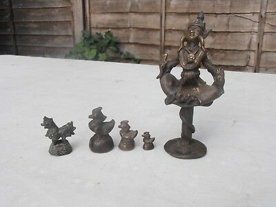 Four Small Antique Burmese Opium Weights, 3 Hintha Bird And A Mythical Beast