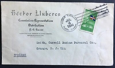 Cover Dominican Republic 1944 commercial use Santo Domingo to New Jersey