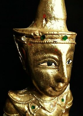 Vintage Burmese gilt painted wood and metal monk figure statue Buddhism Buddha
