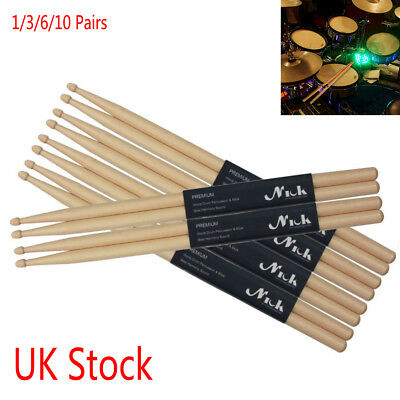 """3/6/10 Professional 5A 16"""" Drumsticks Maple High Quality Wood Premium Percussion"""