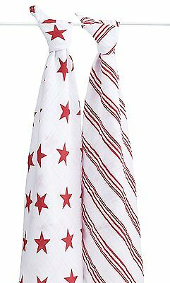 aden + anais Classic Muslin Swaddle Blanket 2 Pk- Product (RED) Special Edition