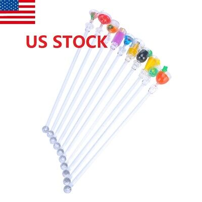 10Acrylic Cocktail Drink Swizzle Stir Sticks Spoon Drink Stirrers Party Bar US