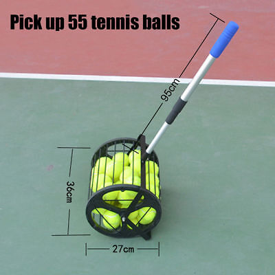 Pick Up 55 BALLS Tennis Ball Picker Hopper Retriever Mower Collector box trainer