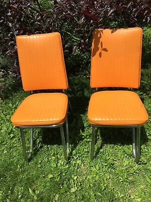 2 Vintage Orange Vinyl Naugahyde Chrome Mid Century Modern Kitchen Dining Chairs