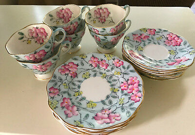FOLEY SPRINGDALE ENG BONE CHINA TEACUP, SAUCER, & SIDE PLATE, Set of 6 each