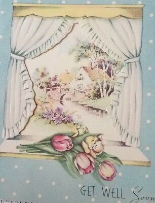VTG Greeting Card Unused Get Well Embossed Flowers Cut Out Window Cottage 1940s
