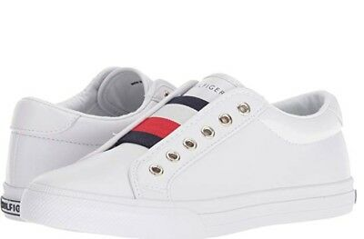 Tommy Hilfiger Women Sneakers Slip-on Leather Laceless Shoes Casual White New