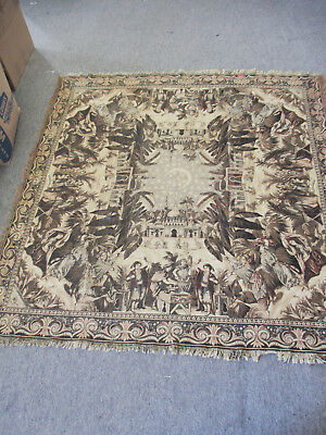 Vintage Woven Wool Tablecloth / Tapestry Wall Hanging Medieval Theme 68 x 68