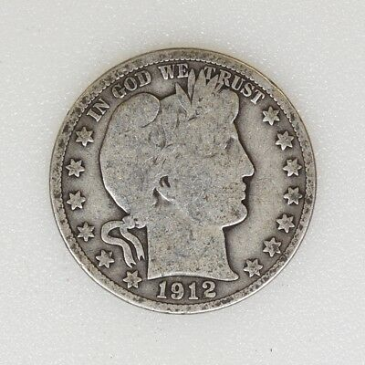 1912-S GOOD Condition Barber Silver Half Dollar Nice Color - I-14164 G