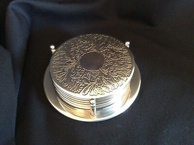 6 Vintage  Silver Plate Coaster Set With Stand