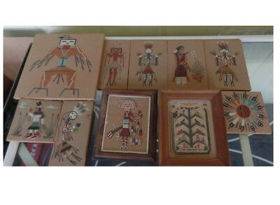 Vintage lot of 10 Indian Sand Art Pictures decor  great lot