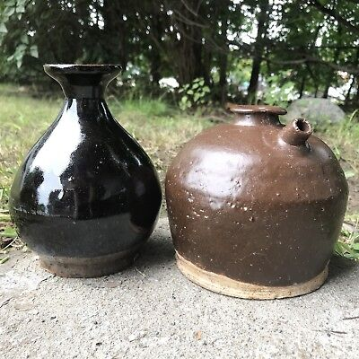 Antique Chinese Pottery Saki Soy Sauce Bottles Jugs