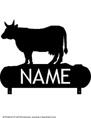 Personalized Custom Cartoon Cow License Plate Add A Name Initials Phrase etc.