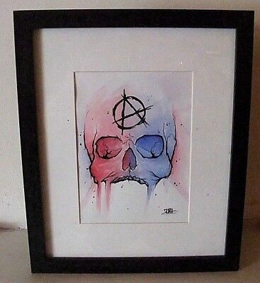 **COMIC ARTWORK''ANARCHY'''by local LANCASHIRE Artist/FRAMED MOUNTED MIXED MEDIA