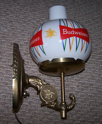 Vintage Budweiser Wall Sconce Lamp Light With White Glass Globe