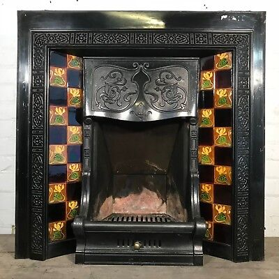Orginal Antique Victorian cast iron and tiled fireplace insert (1-1211)