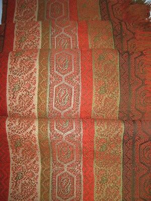 Large Antique Paisley Wool Shawl Tablecloth Beautiful Stripe Victorian Excellent