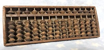 Rare Antique Wooden Soroban Japanese Abacus Signed Carved Character Marks