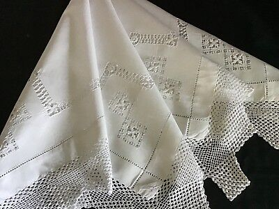 Beautiful Antique White Tablecloth ~ Drawn Thread Work/lace