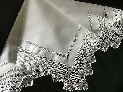 Lovely Antique Linen Tablecloth ~ Drawn Thread Work/pretty Lace