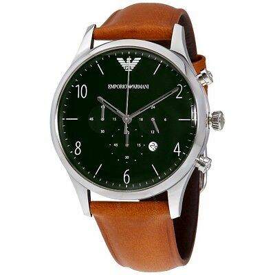 Brand New Emporio Armani Chronograph Green Dial Brown Leather Men Watch Ar1941