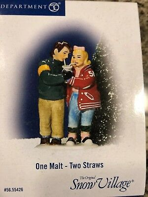 Department 56 Snow Village One Malt Two Straws Accessory