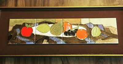 Mid Century Modernist Harris Strong Art Tiles Tetraptych Signed & Framed