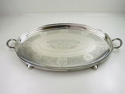 Magnificent 2-HANDLED SILVER GALLERY TRAY, Sheffield 1902, L&NW Railway 2390g