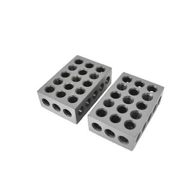 2Pcs 123 Blocks 1-2-3 Ultra Precision .0002 Hardened 23 Holes 0.0002""