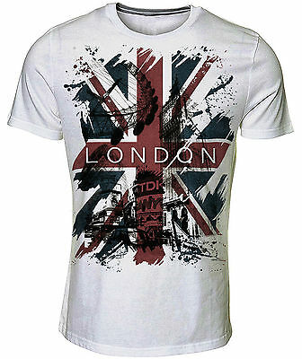 Unique Unisex Union Jack London Souvenir Printed White Adult T-Shirts Sizes S-Xl