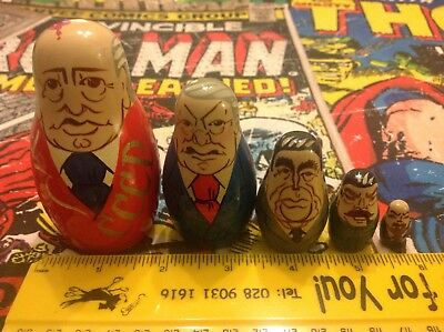 Russian Wooden Nesting Dolls Vintage Collectable Set of 5 Presidents USSR CCCP