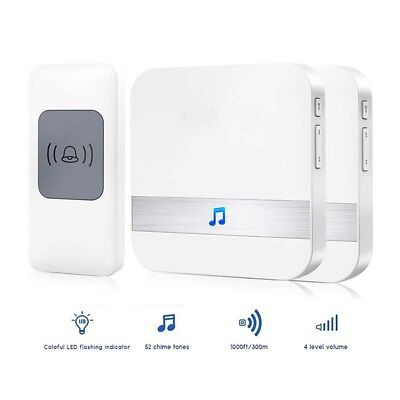 300M Waterproof LED Wireless Doorbell 1 Button + 2 Receiver 52 Songs Chime SOS