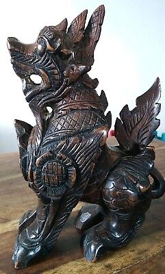 Antique south east asian rosewood hand carved foo dog 25cms